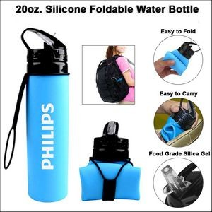 20oz. Silicone Foldable Water Bottle - Blue