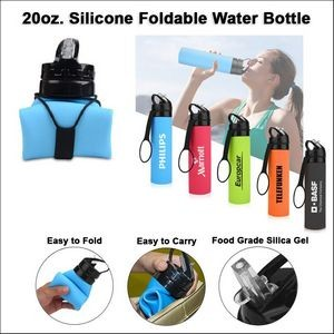 20oz. Silicone Foldable Water Bottle