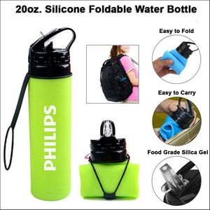 20oz. Silicone Foldable Water Bottle - Green